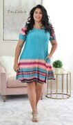 Plus Size Womens Turquoise Pink Silky Loose Fit Tunic Dress Pockets 1x 2x 3x Usa