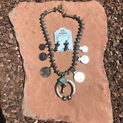 Navajo Paul Livingston Sterling Silver Turquoise Coin Necklace Set