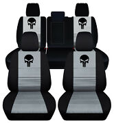 Front+rear Custom Fit Car Seat Covers Blk-silver W/punisher Fits Grand Cherokee