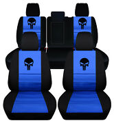 Front+rear Custom Fit Car Seat Covers Blk-blue W/punisher Fits Grand Cherokee