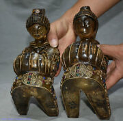 9 Chinese Silver Wire Crystal Hand-carved Kneel People Statue Sculpture Pair