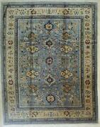Eorc Handmade Mohair Blue Trasitional All Over Angora Oushak Rug 9and0392 X 11and0399
