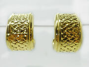 Signed Le Gi Italy 18k Solid Gold Woven Design Clip Earrings