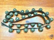 Antique Christmas 6' Horse Jingle Bells Sleigh Bells 30 Bells On Leather Strap