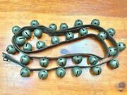 Antique Christmas 6and039 Horse Jingle Bells Sleigh Bells 30 Bells On Leather Strap