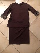 Motherhood Size Large Maternity Brown Top And Pencil Skirt Leopard Pattern