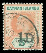 Cayman Islands 1907 Kevii 1d On 5s Salmon And Green Aps Cert Vfu. Sg 19. Sc 19.