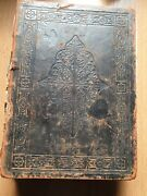 Large Antique Bible, Family Entrees From The 1800s Rare