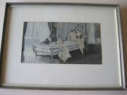 Vintage French Silk Jacquard Woven Picture Of Pool Table Scene With Wooden Frame
