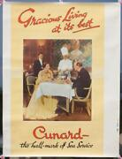 Cunard White Star Line Rms Queen Elizabeth Original C1950and039s Travel Agents Poster