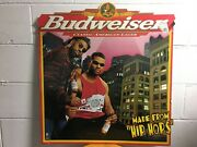 Vintage 1998 Budweiser Classic American Lager Made From Hip Hops Tin Sign Usa