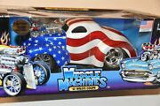 2001 Muscle Machines And03941 Willys Coupe 1/18 Usa Red White Blue Stars Stripes 118