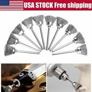10pcs Set Wire Brush Drill Attachments Wheel Cups End Brush Deburr Rust Removal