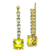 14k Yellow Gold Lab Grown Diamond And Created Yellow Sapphire Earrings Lal1574