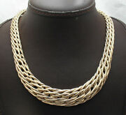18 Bold Graduated Interlocked Wheat Chain Necklace Real 14k Yellow Gold Hsn