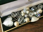 White Real Pearl Murano Glass Heart Shell Bridal Mother Of Pearl Bead Necklace
