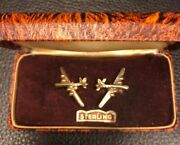 Rare Wwii Air Corps B-17 Screw Earrings Marked Sterling In The Original Box.