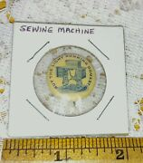 Vintage Pin Back Sewing Machine Advertising Buy The Light Running Domestic