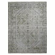 9and039x11and03910 Green Erased And Pure Wool Sheeraz Hand Knotted Oriental Rug R49345