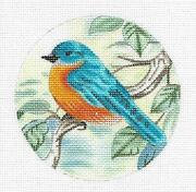Bluebird On A Branch Hp Needlepoint Canvas Ornament By Liz From Susan Roberts