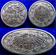 Germany - 1906a + 1907j+ 1915d - 1/2 Mark - Xf+ - Km 17 - Silver - 3 Coins Lot