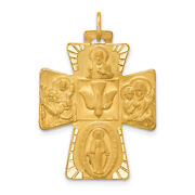 Lex And Lu 14k Yellow Gold Solid Polished/satin Large 4-way Medal Pendant Cross