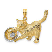 Lex And Lu 14k Yellow Gold W/rhodium Cat Playing With Yarn In Basket Charm