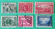 Very Nice Mixed Lot Of 6 Vintage Collectible U.s. Postage Stamps 1907 To 1915