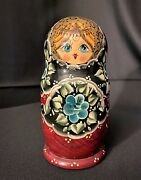 Beautiful 7pc Wood Nesting Dolls Black And Red W/ Blue Flowers