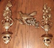 Vintage Syroco Home Interiors 3 Piece Set 2 Floral Wall Hanging Plus 1 Bird Gold