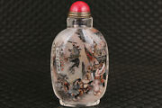 Chinese Old Glass Hand Painting Shuihuzhuan Of Giving Snuff Bottle