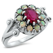 Lab Ruby And Opal Antique Victorian Style 925 Sterling Silver Ring Size 7   205