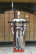 Suit Of Armor Medieval Knight Vintage Shield And Stand Halloween Crusader Templar