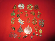 Lot 30 Pieces Of Vintage Christmas Jewelry Brooches Earrings Trees Some Signed