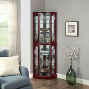 Ashfield Lighted Wood/glass Curio Corner Cabinet Floor Standing 2 Colors