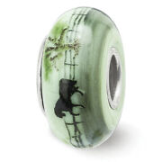 Lex And Lu Silver Reflections Hand Painted Horse On Green Fenton Glass Bead