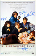 The Breakfast Club Autographed 11x17 Movie Poster 4 Sigs Ringwold Beckett 135225
