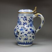 Chinese Blue And White Moulded Tankard And Cover Kangxi 1662-1722