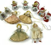 Vintage Christmas Ornament Lot Of 11 Japan Bells Glass Angels Doll 50's-60's