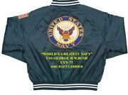 Uss George H.w.bush Cvn-77 Carrier Navy Deluxe Embroidered 2-sided Satin Jacket
