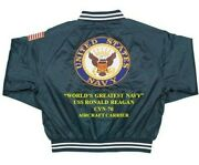 Uss Ronald Reagan Cvn-76 Carrier Navy Deluxe Embroidered 2-sided Satin Jacket