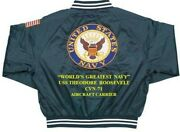 Uss Theodore Roosevelt Cvn-71 Carrier Deluxe Embroidered 2-sided Satin Jacket