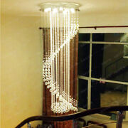 Led Luxury Crystal Ceiling Light Spiral Lamp Stair Chandelier Lighting Fixtures
