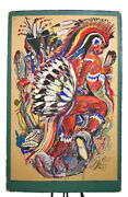 Original Casein Painting And039cheyenne War Danceand039 By Fred J.yost Sgn 1955