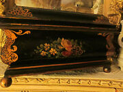 Antique English Hand Painted Fugural Tole Tin Lined Cigar Humidor Box By Smiths