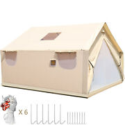 Canvas Wall Tent 10and039x12and039w/ Frame Fire Water Repellent For Huntingandcamping