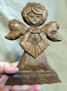 Vtg Hand Carved Wood Wooden Carving Angel Religious Plaque Statue Betty Alder