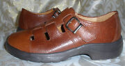 Softspots Supreme Brown Leather Chunky Comfort Mary Janes Slides Sandals 8 W