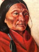Portrait Of A Native American Attributed Signed On Frame As J. H. Sharp