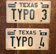 Lot Of 2- 1980 Vanity Texas License Plate Singles Typo 3 And Typo 4
